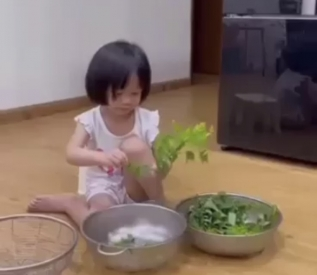 Kỹ năng nhặt rau (Các bé 2 - 3 tuổi )